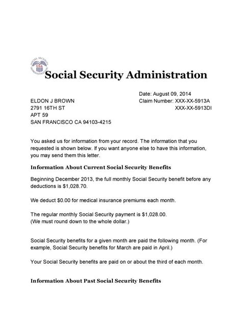 Award Letter Irs social security verification letter levelings