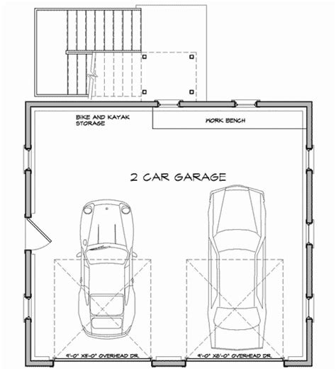 double garage plans economical two car garage with storage 12435ne cad