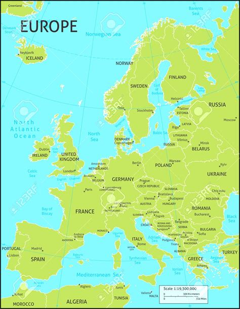 europe map with country names map of europe with country names and capitals