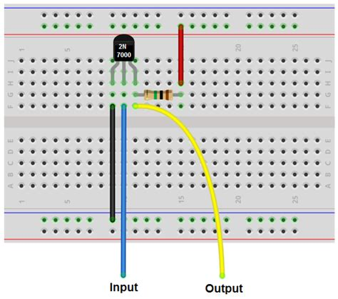 circuit to breadboard how to build an inverter with a transistor