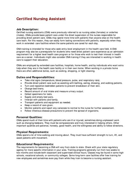 Resume For Aide Position Nursing Assistant Resume Description Cna Duties And Responsibilities