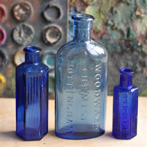 Three Blue Antique Medicine Apothecary Bottles   Home Barn