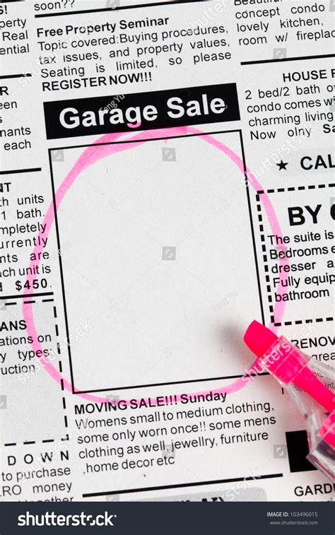 Garage Sale Classified Ad by Classified Ad Newspaper Garage Sale Stock Photo