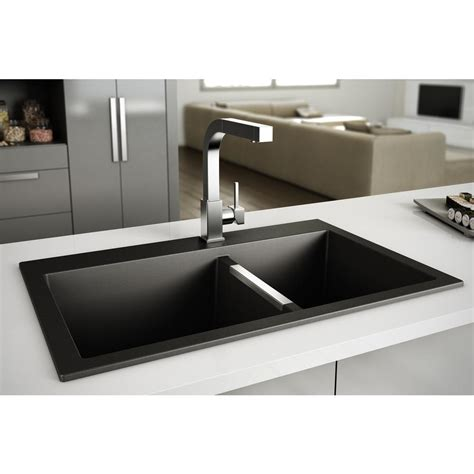 Granite sink double bowls black plumbing artika