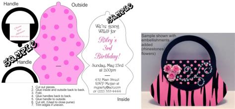 Purse Birthday Invitations With Clipart Choose Your Character Any Color Scheme Purse Invitation Template