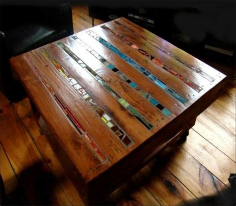 get glass cut for table top inlay of stained glass for the table top of pallet wood