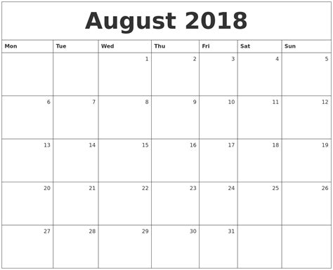 printable calendar monday start august 2018 monthly calendar