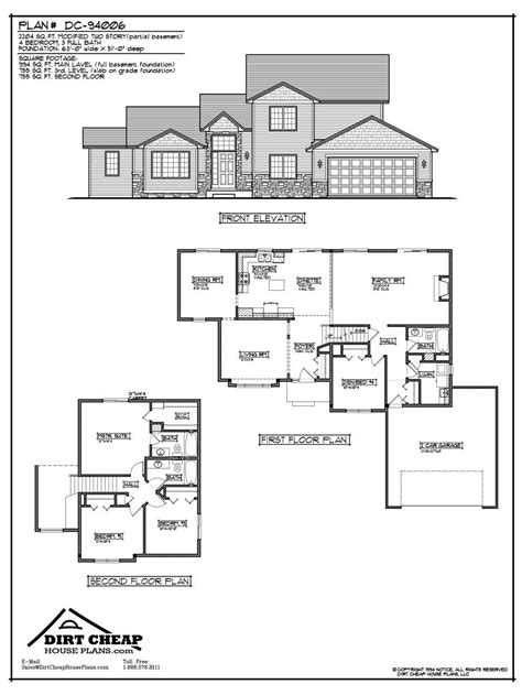 two story house plans with basement partial basement quotes