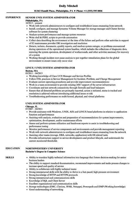 unix administration sle resume simple service contract