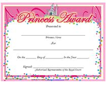 free printable princess award certificates templates