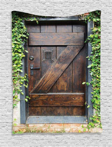 Door Tapestry by Small Stain Wood Door Theme Secret Garden