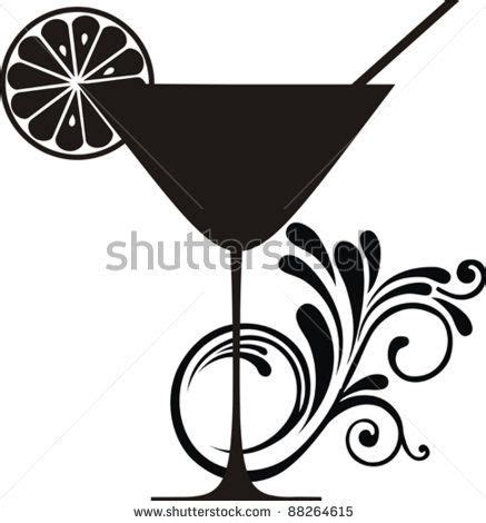 cocktail silhouette cocktail drink silhouette isolated on white background