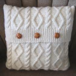Knitting diamonds and cables knit pillow cover