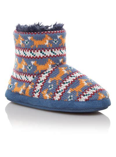 sainsburys slipper boots boys boys blue fox patterned slipper boots tu clothing