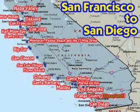 map of california coast of san francisco coastal california from san francisco to san diego