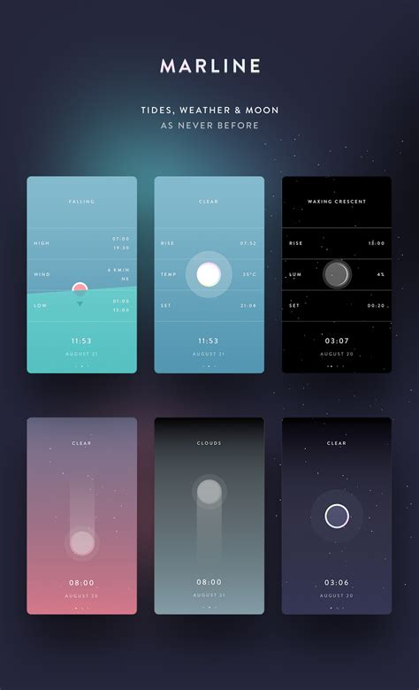 application design gallery marline weather tides moon as never before on behance