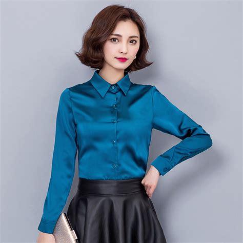 pantyhose tops sleeved 2016 new lapel slim stretch silk satin shirts women