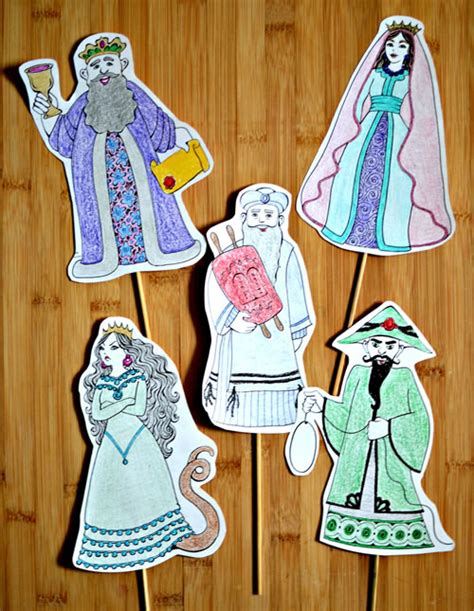 purim puppets purim character puppets coloring crafts bijbelse werkjes