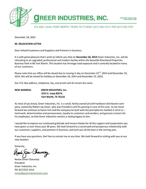 business relocation notice letter templates