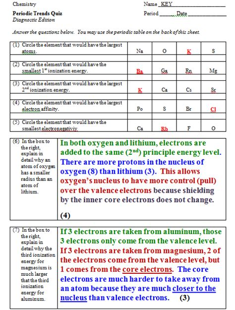 electron energy and light pogil answers ionization quiz on ionization energy