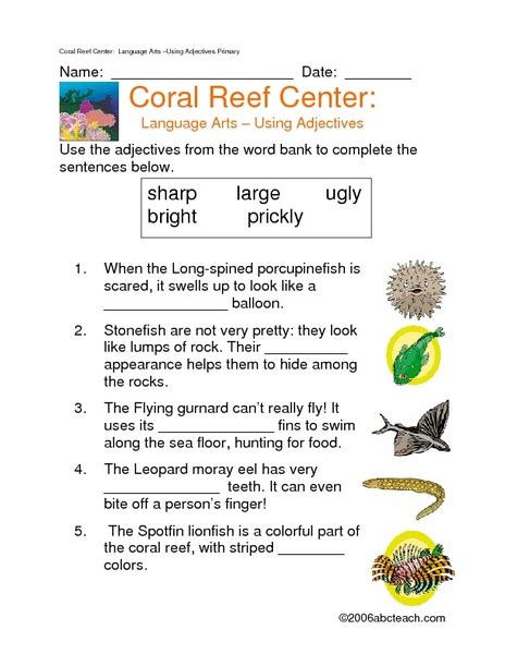 Coral Reef Worksheets For by Coral Reef Worksheets Mmosguides