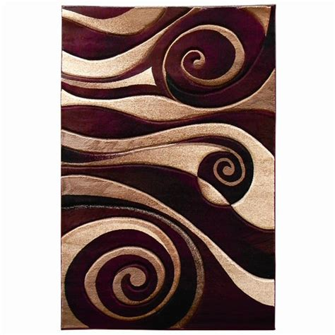 Swirl Area Rug by Donnieann Company Sculpture Burgundy Beige Abstract Swirl