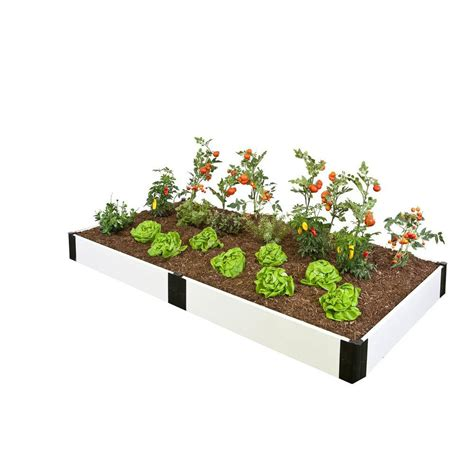 composite raised garden bed frame it all 4 ft x 8 ft x 8 in white composite raised