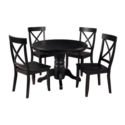 Shop Home Styles Black 5 Piece Dining Set With Round Black Dining Table Set