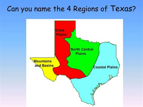 texas 4 regions map regions of texas ppt