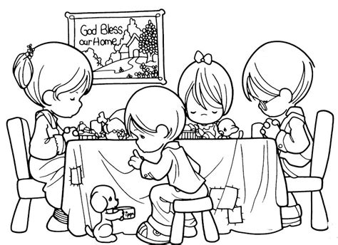 為孩子們的著色頁 family praying precious moments free coloring