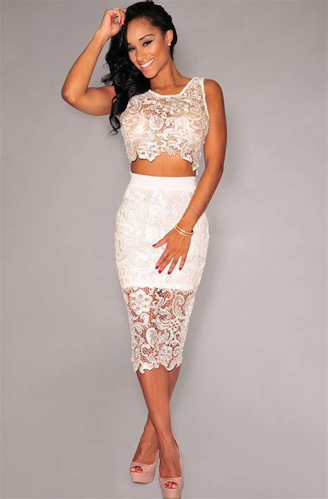 Low Waist Lace White M by White Lace High Waist Sleeveless Dress N10861