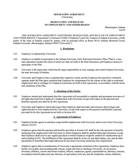 10 Employment Separation Agreements Sle Templates Employee Severance Agreement Template