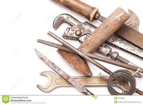 metal work layout tools old metal work hand tools with rust on white stock image