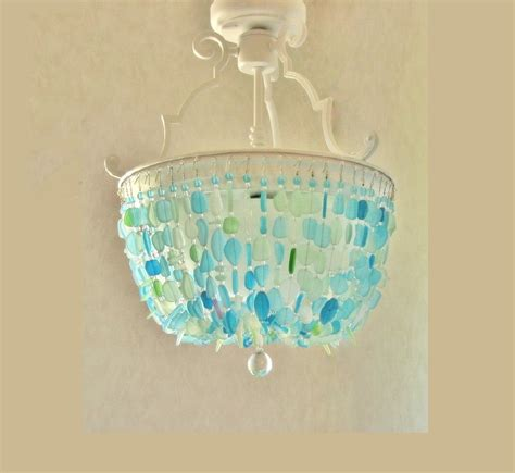 Sea Glass Chandeliers Sea Glass Chandelier Lighting Fixture Glass Ceiling