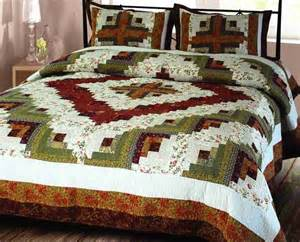 Cotton Quilts Size Decor 101825 Q Log Cabin Quilt Size Handmade