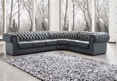 Appealing Grey Upholstered Sectional Leather Chesterfield Corner Chesterfield Sofa