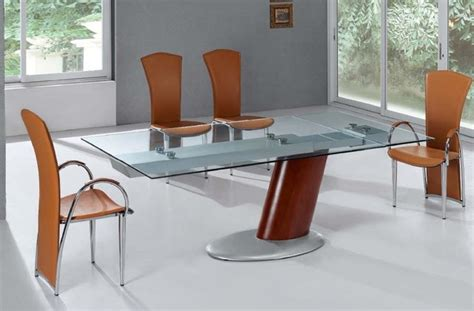Modern Glass Dining Room Tables by Extendable Metal Glass Top Leather Modern Dining Room With