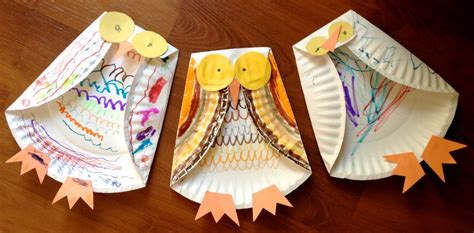 Owl Paper Plate Craft - paper plate owl family crafts