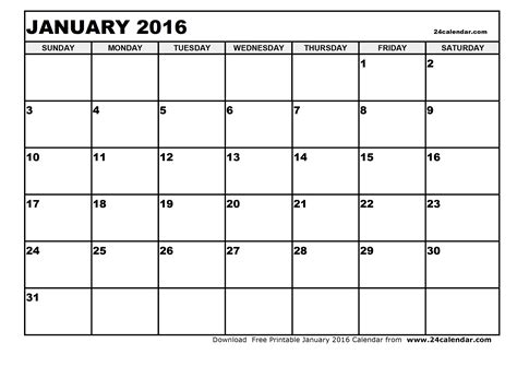 printable calendar 2016 january and february blank january 2016 calendar in printable format