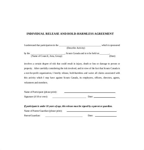 9 hold harmless agreement templates free sle exle