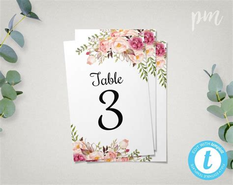 wedding table number cards floral wedding table numbers template 4x6 printable table