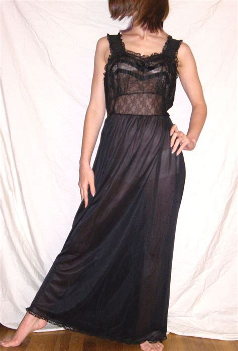 Ss80 Black Fishnet Hidenana Nightdress vintage 1950 serufe black nightgown lots of lace nwt new nos size from missjewel on ruby