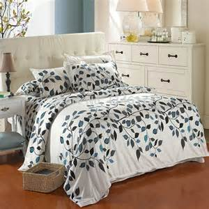 Polyester Cotton Bedding Sets Ywxuege Leaves Pattern Duvet Cover Bedsheet 4pcs Polyester