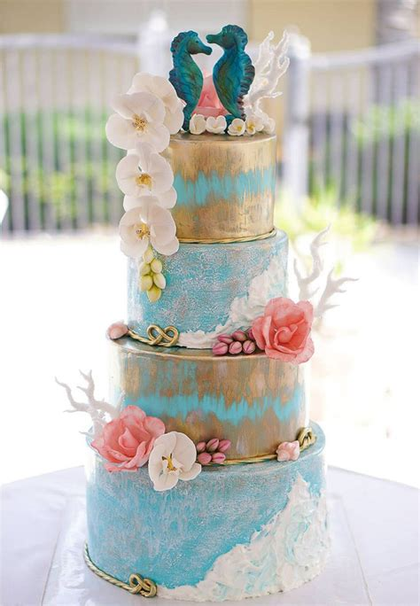 Sea Decoration Ideas 50 Beach Wedding Cakes For Your Vows By The Sea Mon