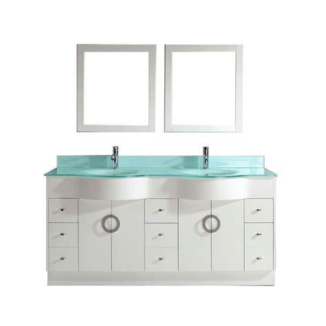 Mirror Glass Vanity by Studio Bathe Zoe 72 In Vanity In White With Glass Vanity