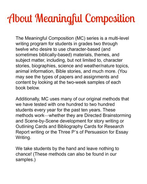 Composition Essay Exles by Meaningful Composition 4 I Sentences Paragraphs More Character Ink Press