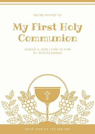 first communion invitation templates canva