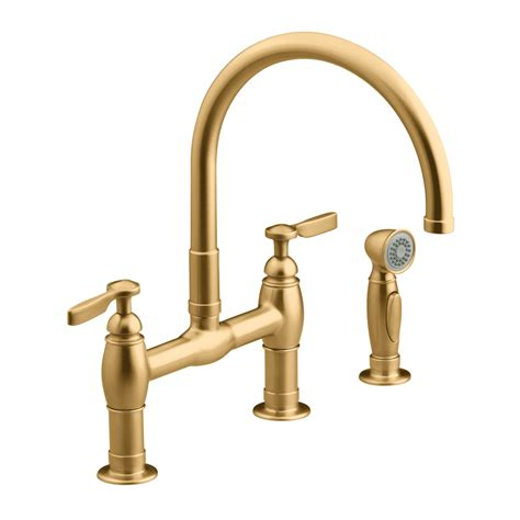 shop kohler parq vibrant brushed bronze high arc kitchen faucet with side spray at lowes com