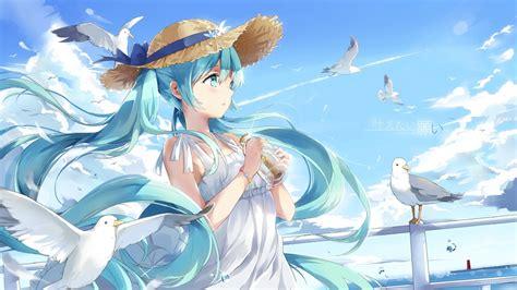 anime girl summer wallpaper wallpaper hatsune miku birds vocaloid hat summer dress