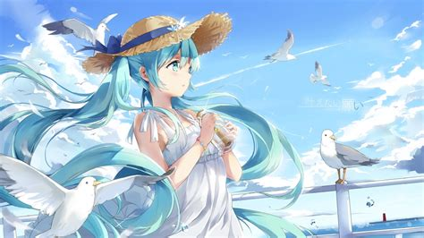 Wallpaper Hatsune Miku, Birds, Vocaloid, Hat, Summer Dress